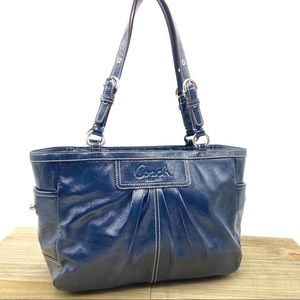 Coach Navy Patent Leather Gallery Tote F13761